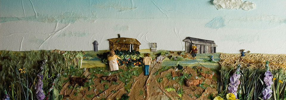 The Dream (Homestead Farm Scene), origami and paper landscape art by Linda Stephen