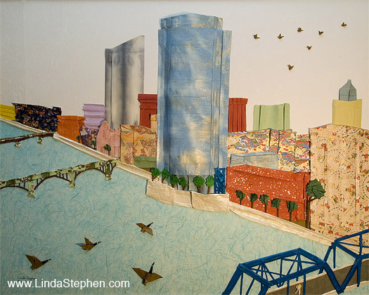 Griffin's View of Downtown Grand Rapids, Michigan - origami and paper landscape art by Linda Stephen - View 1