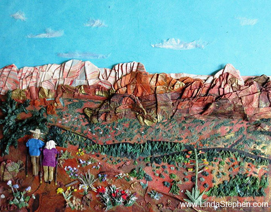 Hiking Sedona, origami and paper landscape art by Linda Stephen - view 1