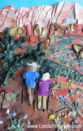 Hiking Sedona, origami and paper landscape art by Linda Stephen - view 2