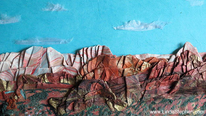 Hiking Sedona, origami and paper landscape art by Linda Stephen - view 3