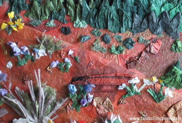 Hiking Sedona, origami and paper landscape art by Linda Stephen - view 6