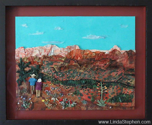 Hiking Sedona, origami and paper landscape art by Linda Stephen - view 10