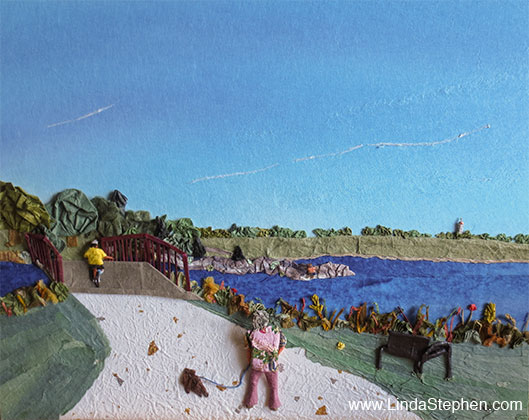 Holmes Lake Park in September, origami and paper landscape art by Linda Stephen