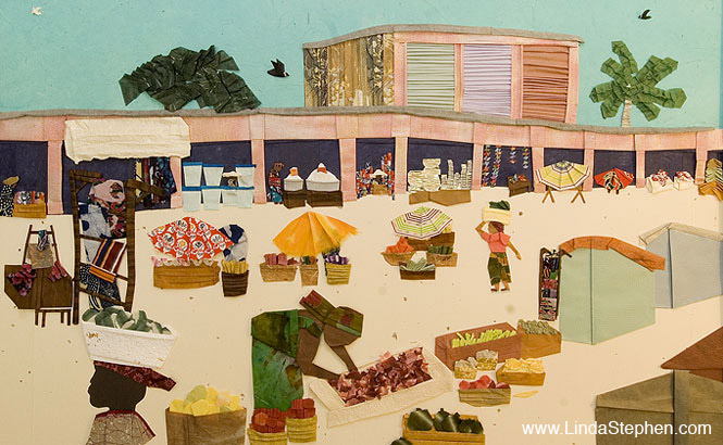Makola Market in Accra, Ghana - origami and paper landscape art by Linda Stephen - view 1