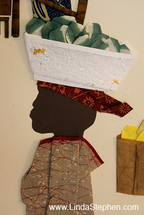 Makola Market in Accra, Ghana - origami and paper landscape art by Linda Stephen - view 2