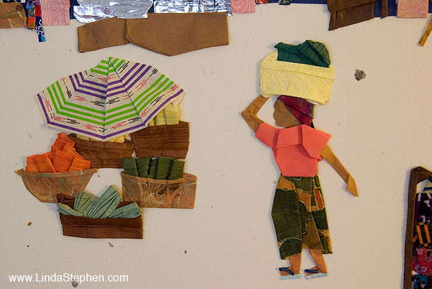 Makola Market in Accra, Ghana - origami and paper landscape art by Linda Stephen - view 3