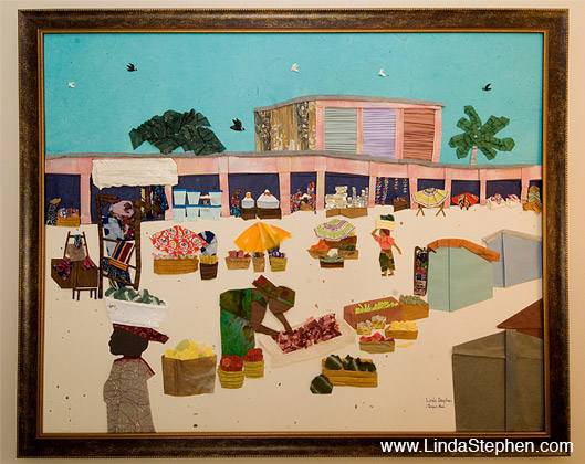 Makola Market in Accra, Ghana - origami and paper landscape art by Linda Stephen - view 4