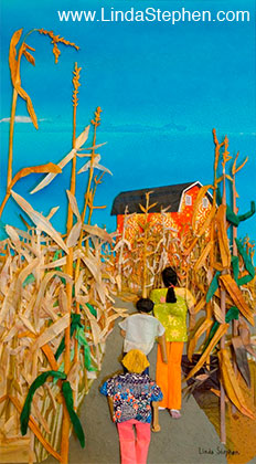 The Path through the Corn Maze, origami and paper landscape art by Linda Stephen