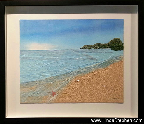 The Sea on a Day of Peace, origami and paper landscape art by Linda Stephen - view 2
