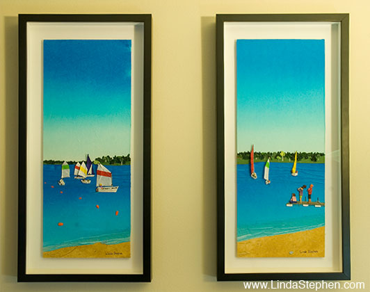 Summer Sailing Camp, origami and paper landscape art by Linda Stephen - view 2