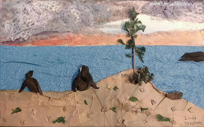 Sunset Point, origami and paper landscape art by Linda Stephen