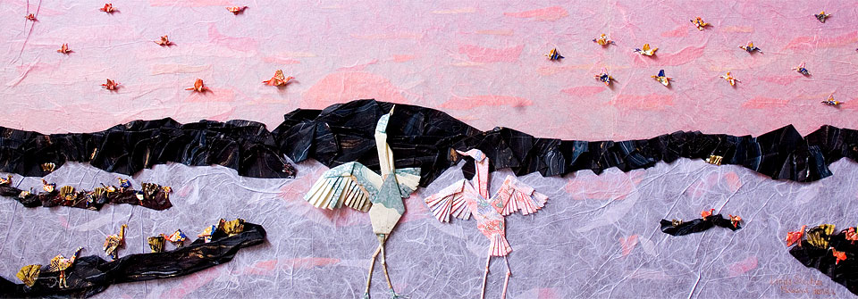 Landing in Nebraska, origami and paper landscape art by Linda Stephen