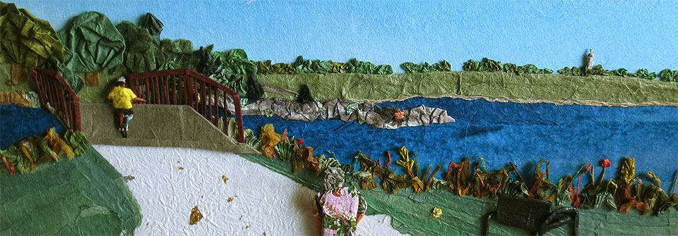Holmes Lake View of the Capital, origami and paper landscape art by Linda Stephen
