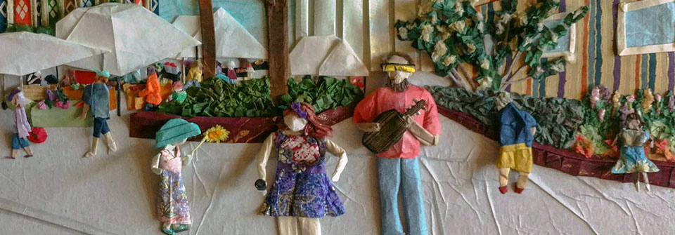 Music at the Market, origami and paper landscape art by Linda Stephen