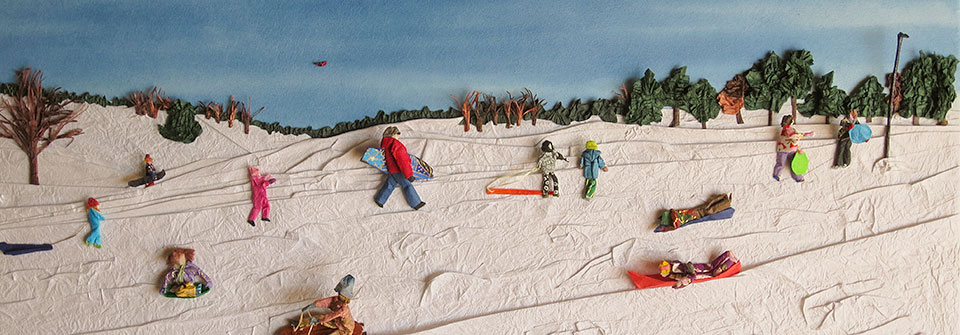 Sledding Day at Pioneers Park, origami and paper landscape art by Linda Stephen