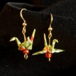 Linda Stephen green origami crane earrings gold hook. Custom earrings. Various colors. Sterling siver available.