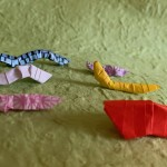Origami caterpillar by artist Linda Stephen Copyright 2019